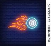 firing billiard ball neon sign. ... | Shutterstock .eps vector #1152823640