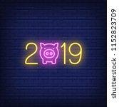 twenty nineteen neon style icon.... | Shutterstock .eps vector #1152823709