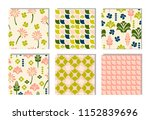 set of pink  green patterns ... | Shutterstock .eps vector #1152839696