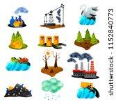 ecological problems set of flat ... | Shutterstock .eps vector #1152840773