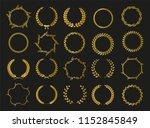 golden vector laurel wreaths on ... | Shutterstock .eps vector #1152845849