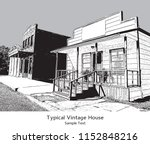 typical suburb house in vintage ... | Shutterstock .eps vector #1152848216