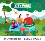 city park with trees lawn... | Shutterstock .eps vector #1152849236