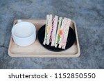 homemade sandwich served with... | Shutterstock . vector #1152850550