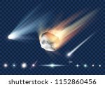 set of star  comet and asteroid ... | Shutterstock .eps vector #1152860456