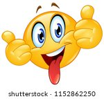 emoticon showing thumbs out and ... | Shutterstock .eps vector #1152862250