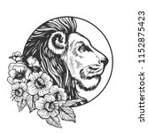 lion head animal engraving... | Shutterstock . vector #1152875423