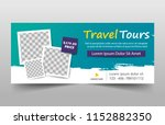 Stock vector travel tours banner template horizontal advertising business banner layout template flat design 1152882350