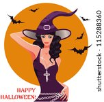 halloween sexy witch  vector... | Shutterstock .eps vector #115288360