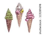 Ice cream colorful collection. Hand drawing sketch vector illustration - stock vector
