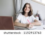 girl teenager 12 16 years at... | Shutterstock . vector #1152913763