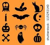 set of halloween icons | Shutterstock .eps vector #115292140