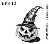 halloween pumpkin and hat... | Shutterstock .eps vector #115292500