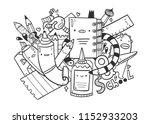 cute school monsters. doodle...   Shutterstock .eps vector #1152933203