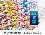 men hand holding modern mobile... | Shutterstock . vector #1152945113