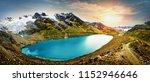 Stock photo lagoon in the snowy huaytapallana huancayo peru 1152946646