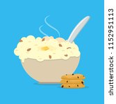 oatmeals  oat flakes with milk. ... | Shutterstock .eps vector #1152951113