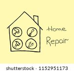 home repair icon on creme... | Shutterstock .eps vector #1152951173