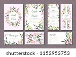 floral wedding invitation with... | Shutterstock .eps vector #1152953753