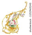 golden arabesque with roses  | Shutterstock . vector #1152965243