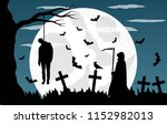 graveyard with hangman and grim ... | Shutterstock .eps vector #1152982013