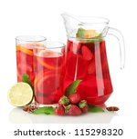 sangria in jar and glasses with ... | Shutterstock . vector #115298320