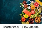 a set of healthy food on a... | Shutterstock . vector #1152986486