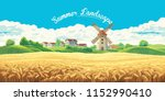 rural summer landscape with the ... | Shutterstock .eps vector #1152990410