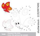 red moth butterfly. dot to dot... | Shutterstock .eps vector #1152997490
