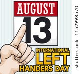 left hand pointing at loose... | Shutterstock .eps vector #1152998570