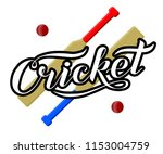 hand drawn cricket lettering... | Shutterstock .eps vector #1153004759