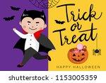 happy halloween greeting card... | Shutterstock .eps vector #1153005359