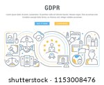 line banner of the gdpr. vector ... | Shutterstock .eps vector #1153008476