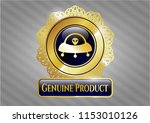 golden emblem with ufo with... | Shutterstock .eps vector #1153010126