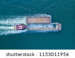 aerial view of a tug boat... | Shutterstock . vector #1153011956