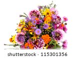 Stock photo beautiful bouquet of bright flowers isolated on white 115301356