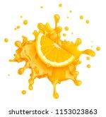 juice splash with orange and... | Shutterstock . vector #1153023863