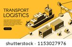 maritime transport logistics... | Shutterstock .eps vector #1153027976