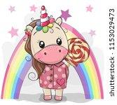 cute cartoon unicorn in coat... | Shutterstock .eps vector #1153029473