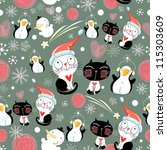 christmas texture of the cats... | Shutterstock .eps vector #115303609