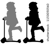 girl on scooter | Shutterstock .eps vector #1153050560