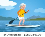 senior woman on a stand up... | Shutterstock .eps vector #1153054109