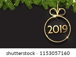 black 2019 new year background... | Shutterstock .eps vector #1153057160