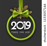 grey 2019 happy new year... | Shutterstock .eps vector #1153057166