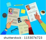 the hr manager reviews the... | Shutterstock .eps vector #1153076723