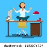 business woman meditating in... | Shutterstock .eps vector #1153076729