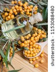 sea buckthorn oil and berries... | Shutterstock . vector #1153088480
