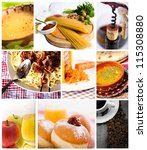 food and drink collage from several image - stock photo