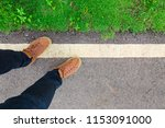 road and grass and foot along... | Shutterstock . vector #1153091000