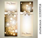 greeting cards with white  bows ... | Shutterstock .eps vector #115309918